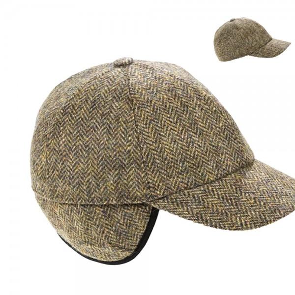 Original irische Baseball-Tweed Cap mit einklappbaren Ohrenschützern.