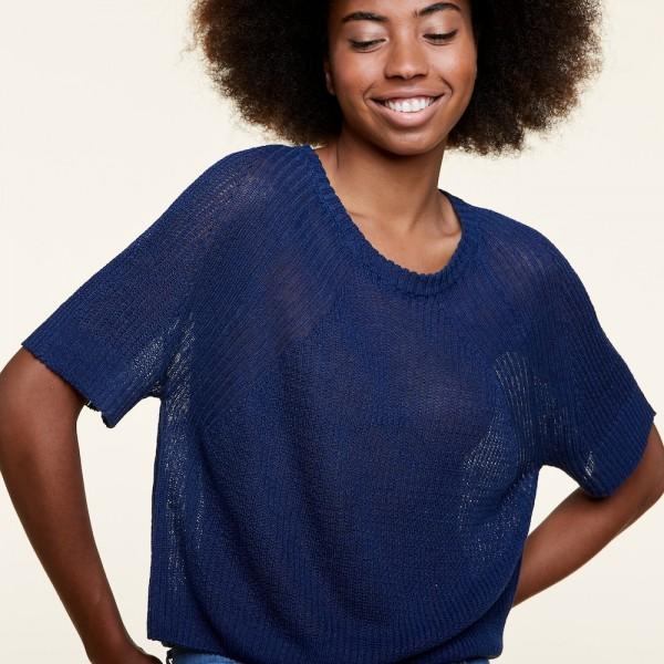 Leinen T-Shirt mit Raglan Ärmeln im Rippenstrick von Les Racines du Ciel.