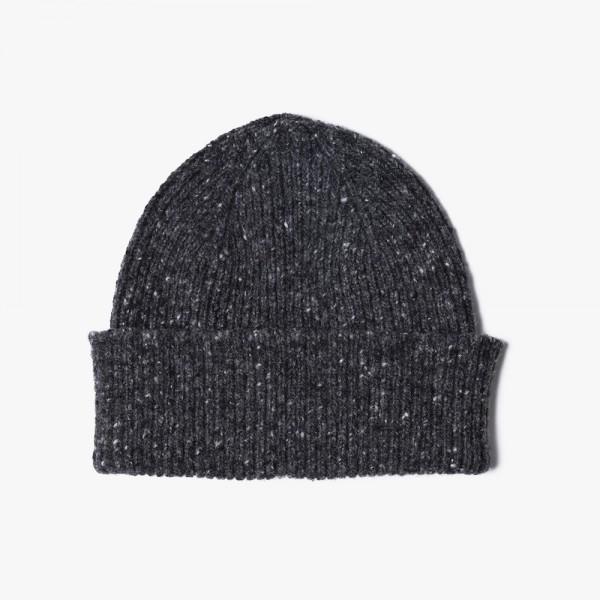Melierte Mütze vom belgischen Label HOWLIN aus reiner Schurwolle in charcoal