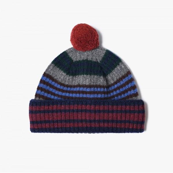 Slow Hat, bunt gestreifte Mütze mit Bommel, in gedeckten Farben vom belgischen Label HOWLIN aus reiner Schurwolle