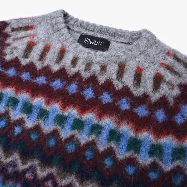 Schurwoll-Pullover in Grau mit Muster vom belgischen Label HOWLIN´.