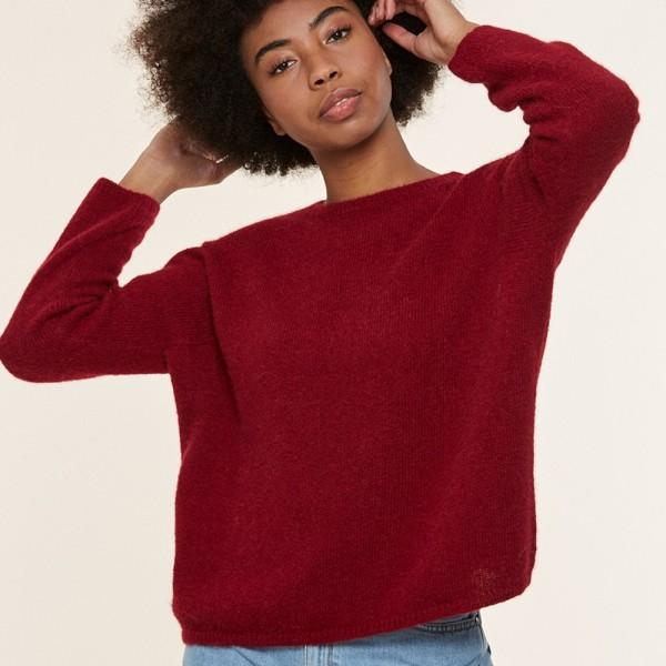 Überschnittener Alpaka-Pullover mit Rundhalsausschnitt von Les Racines du ciel in der Farbe Rot