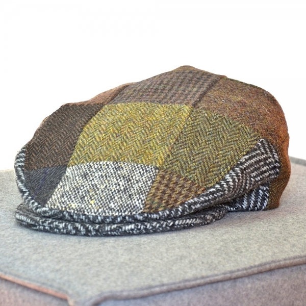 Original irische Patch Tweed Mütze  EIR von der Weberei JOHN HANLY & Co.